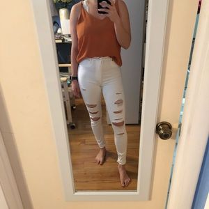 Simone high rise super skinny white ripped jeans